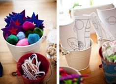 Prepared craft activities in mini tubs