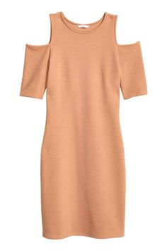 Fitted, knee-length dress in ribbed jersey with short sleeves and cut-out sections on the shoulders. Fashion Online, Style Me, Powder, Fall Winter, Cold Shoulder Dress, Beige, Girls, Clothes, Tops
