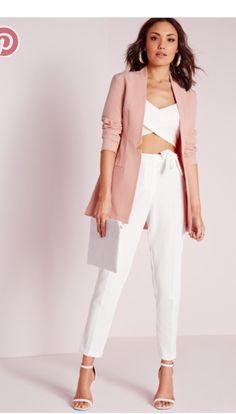 9f919cd75a8dae Missguided - Lapel Detail Longline Blazer Pink Long A Line