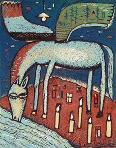 Pijící pegas/ Drinking pegasus 2015, linocut, 43.5 x 34 cm, limited edition of 15 prints