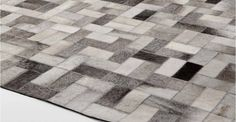 Parquet Cowhide Rug 200 x 300cm in tonal grey | made.com