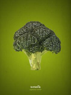Botaniq Vegan & Vegetarian Restaurant: Broccoli Vegetarian butcher. Advertising Agency: Hjaltelin Stahl, Copenhagen, Denmark Art Director: Karl Alexander Veng Illustrator: Lauritz Hansen Published: December 2015