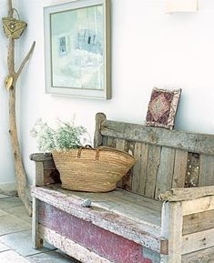 GAP Interiors - Rustic wooden bench - Picture library specialising in Interiors, Lifestyle & Homes Pallet Furniture, Rustic Furniture, Pallet Bench, Furniture Plans, System Furniture, Country Decor, Rustic Decor, Rustic Entry, Country Charm