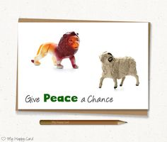"""Inspirational card - Printable - 4""""X6"""" Digital file - Instant download - (Lion and sheep) - Peace card, quote card, relationship card"""