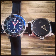 Two badass dive watches on the Monochrome desk! Panerai Radiomir 1940 PAM514 and IWC Deep Two