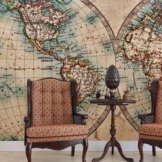 Painel fotográfico mapa mundi - StickDecor   Decoração Criativa