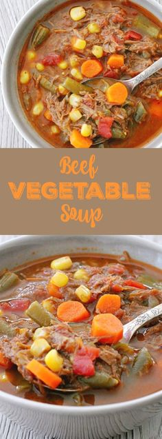 Soup does not have to be complicated to taste great. This Beef Vegetable Soup uses a lot of help from cans but still tastes homemade. Veg Beef Soup, Beef Soup Crockpot, Vegtable Beef Soup, Vegetable Soup Crock Pot, Crock Pot Vegetables, Beef Soup Recipes, Paleo Soup, Beef Soups, Chowder Recipes
