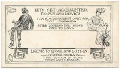 """Victorian Acquaintance card: """"Let's Get Acquainted for Fun and Results"""""""