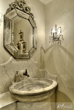 "georgianadesign: "" Houston powder room via home builder Allan Edwards. Glass Bathroom Sink, Tuscan Bathroom, Bathroom Vanities, Bathroom Interior, Modern Bathroom, Small Bathroom, Master Bathroom, Beautiful Bathrooms, Beautiful Mirrors"