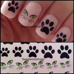 Black Cat Paw Nail Art Water Decals/Transfers on Bonanza