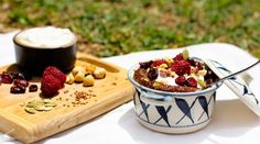 Warm Cocoa Quinoa with toasted hazelnuts, fresh and dried fruit, and greek yogurt. (morning alternate to oatmeal!)