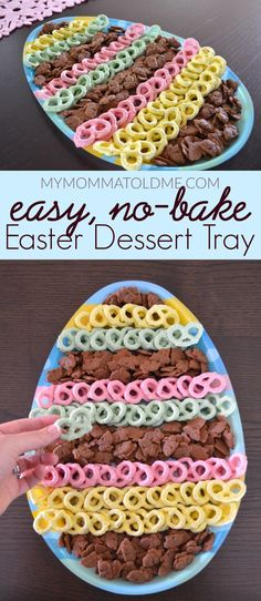 Easter dessert idea: easy no-bake Easter dessert tray! All you need are yogurt covered pretzels (or chocolate-covered) and some bunny graham cookies! Desserts No-Bake Easter Dessert Tray Easter Snacks, Easter Appetizers, Easter Lunch, Easter Party, Easter Treats, Easter Recipes, Easter Food, Easy Easter Desserts, Easter Dinner Ideas