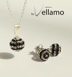 Black and white striped crystal ball necklace and by byVellamo, $35.00