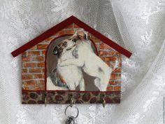 Купить Ключница вешалка настенная Собачки - комбинированный, ключница домик, ключница настенная, новинка, ключница