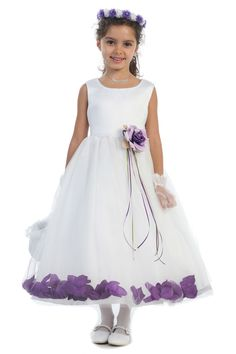 White/Eggplant Sleeveless Satin Flower Petal Flower Girl Dress K160B-EG $38.95 on www.GirlsDressLine.Com