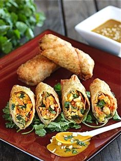 Thai Peanut and Chicken Egg Rolls
