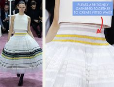 Ribboned Pleats at Dior Haute Couture | The Cutting Class. Christian Dior, Haute Couture, SS15, Paris, Image 9. Pleats are tightly gathered together to create fitted waist.