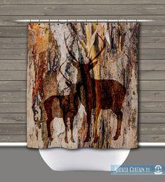 Deer Shower Curtain: Rustic Lodge Wilderness Americana Lodge | Made in the USA | 12 Hole Fabric Bathroom Decor