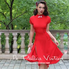Le Palais Vintage 2016 Summer New Arrival Elegant Stand Collar Short Sleeve High Waist Slim Red Middle Dress Women