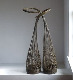 'Sisters' (2011) by fiber artist Lizzie Farey (b.1962). Willow, 42.5 x 17.5 x 12 in. via Brown Grotta Arts