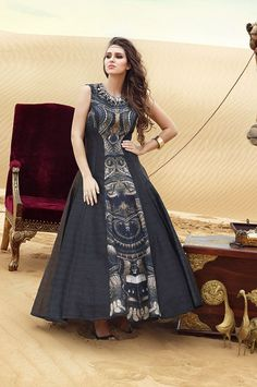 Buy Appealing Black Grey Silk Readymade Partywear Anarkali Suit online in India at best price.You must dare to be different; coz styling is always to be exclusive. Designer Gowns, Indian Designer Wear, Kurta Designs, Blouse Designs, Indian Dresses, Indian Outfits, Lehenga Choli Online, India Fashion, Cotton Dresses