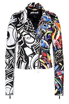 Downtown with an ultra luxe twist, this graffiti print leather jacket form Just Cavalli lends statement-making style to every ensemble Cute Jackets, Jackets For Women, Cool Outfits, Fashion Outfits, Blazers, Painted Clothes, Painting Leather, My Style, Jeans