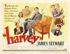 If you have never seen this movie, you need to make time!   Original Vintage Movie Poster title lobby card from 1950 classic Harvey starring James Stewart fun movie about a man with an imaginary rabbit.
