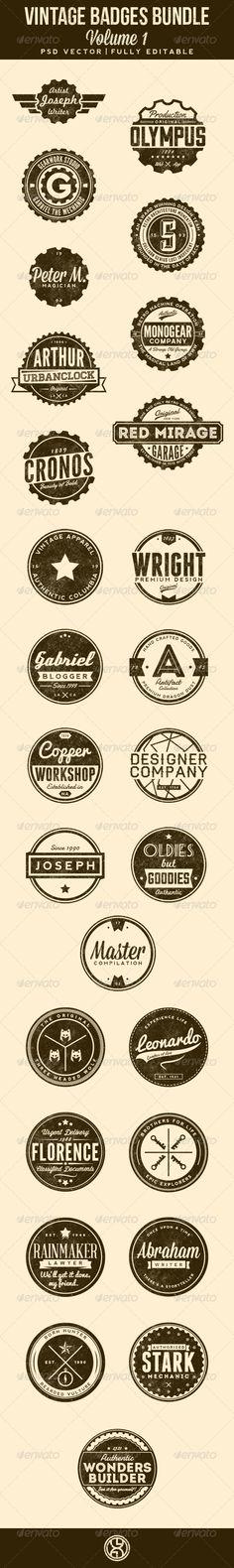 27 Vintage Badges Bundle Template | Buy and Download: http://graphicriver.net/item/27-vintage-badges-bundle-volume-1/7306340?WT.ac=category_thumb&WT.z_author=mining&ref=ksioks