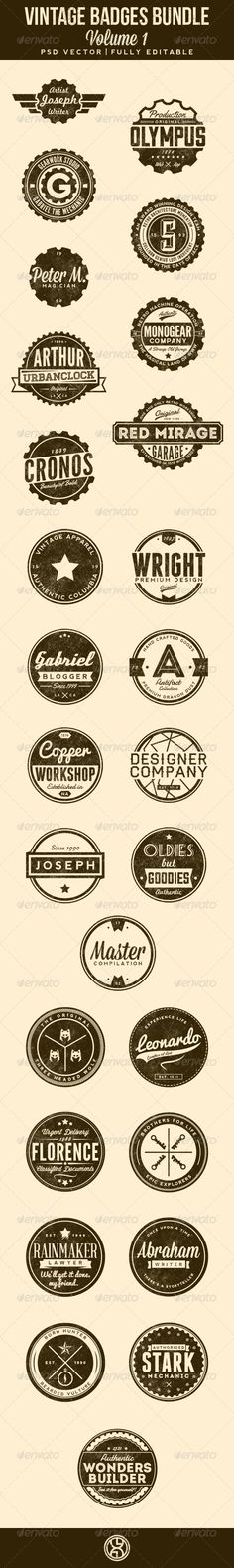 27 Vintage Badges Bundle Template | Buy and Download: http://graphicriver.net/item/27-vintage-badges-bundle-volume-1/7306340?WT.ac=category_thumb&WT.z_author=mining&ref=ksioks