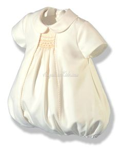 Baby Romper with smocking -  made of twill  ivory