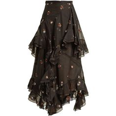 Erdem Elsa floral-embroidered tiered cotton-blend skirt ($2,654) ❤ liked on Polyvore featuring skirts, long tiered skirt, long sheer skirt, high waisted floral maxi skirt, high waisted floral skirt and high waisted long skirts