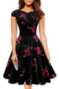 Retro Style V-Neck Rose Print Short Sleeve Ball Dress For WomenVintage Dresses | RoseGal.com