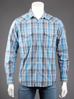 Lucky Brand® Men's Monterrey Plaid Western Shirt in Blue.  Rock  the rugged, cowboy look in this blue plaid long-sleeve shirt. You'll  turn heads when you pair the slim-fitted shirt with a faded pair of  jeans and cowboy boots. The sleeves end in cuffs that button or can be  rolled-up for those sweaty days of summer.