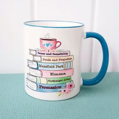 Jane Austen Book Mug Blue Edition Pride and Prejudice Book Lovers Gifts, Gift For Lover, Jane Austen Books, Gifts For Bookworms, Literary Quotes, Literary Gifts, Cool Books, Cute Mugs, Pride And Prejudice