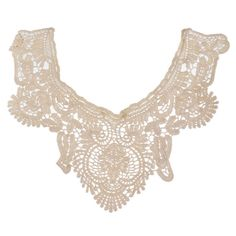 Souarts Beige Color Flower Neckline Lace Collar Charming Sewing Applique for DIY ** Read more at the image link.