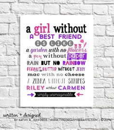 A girl without a best friend is like a garden with no flowers a pen without…