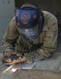 Stick welding takes a steady hand. Love the welding mask