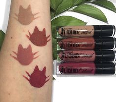 Wet N Wild Catsuit Liquid Lipsticks  Top to Bottom: Nude Patootie, Give Me Mocha, Rebel Rose, Berry Recognize