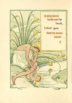 Narcissus -- Walter Crane - 1898 A Floral Fantasy in an Old English Garden