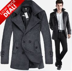 9bc4ac05cef Shop exclusive Mens Thick Wool Blend Casual Double Breasted Pea Coat Dark  Grey and men apparel in different styles. Enjoy our new and discount Mens  Thick ...