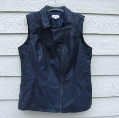 Denim & Co. Navy Blue Faux Leather Vest 44 Chest EUC Motorcycle Outdoor #DenimCo #Vest