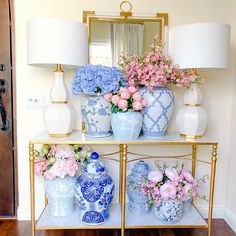 Simple Spring Faux Floral Arrangements - peony, cherry blossoms, hydrangeas simple arrangments you can make to brighten your home for spring Decor, Faux Floral Arrangement, Home Decor Inspiration, Home, Spring Decor, White Decor, Blue White Decor, Luxury Bed Sheets, Floral Decor