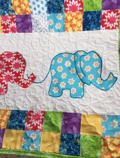 Ellie- A PDF quilt pattern. Applique. Embroidery. Elephant. Panel ... : elephant quilt panel - Adamdwight.com