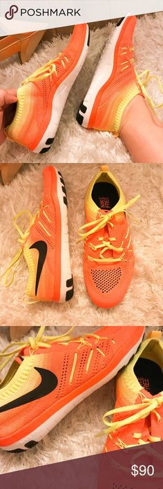 NEW Nike Focus Flyknit Running Shoes BRAND NEW NEVER WORN Women's Nike Flyknits. Neon orange and yellow which is perfect for running outdoors. Stretchy and breathable materials. Nike Shoes Sneakers