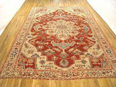 "Heriz & Serapi 15' 7"" x 11' 3"" Antique Persian Serapi at Persian Gallery New York - Antique Decorative Carpets & Period Tapestries"