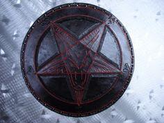 LEATHER TOOLING CARVED BAPHOMET BACKPATCH (leatherBK05) black metal. ANTON LAVEY | eBay