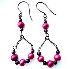 Black and pink earrings