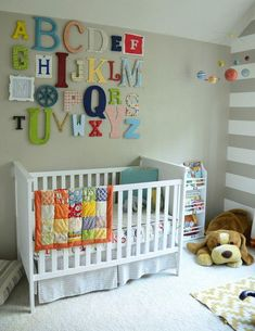 Charming Unisex Baby Room Themes and Bedding Ideas : Extravagant Unisex Baby Bedroom Themes With Alphabet Wall Art And Letters Covered In Scrapbook Paper Or Painted With Acrylic Paints On The Wall Baby Plus White Crib Baby Room Themes, Baby Boy Rooms, Baby Bedroom, Baby Boy Nurseries, Baby Room Decor, Nursery Themes, Nursery Room, Nursery Ideas, Baby Boys