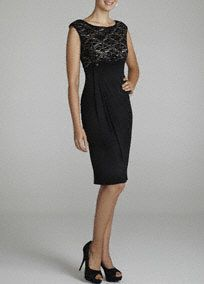 This classy and elegant number is sure to become a favorite in your closet you will want to wear time and again!  Sleeveless bodice features ultra feminine lace pattern detail.  Brilliant black skirt with slight side draping creates dimension and a slimming silhouette.  Fully lined. Back zip. Imported polyester. Dry Clean.  Also available in plus sizes as Style T2731208L1.