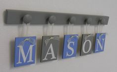 Blue and Gray Baby Boy Nursery Decor Name Sign Set Includes Personalized Alphabet Wall letters and Grey 5 Wooden Pegs. Custom Order MASON